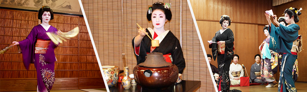De gauche à droite : une geisha dans à Gion; cérémonie du thé, des geisha dansent à Niigata