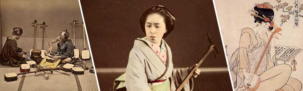 De gauche à droite : un fabricant de shamisen et son client, 1909; une geisha joue du shamisen à Tokyo, 1870; illustration de Kitagawa Utamaro d'une geisha jouant du Shamisen, 1800.