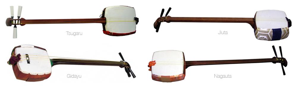 Présentation de 4 styles de shamisens différents.