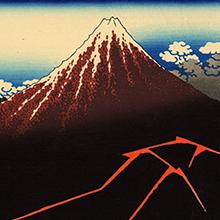Estampe par Hokusai représentant le Fujisan