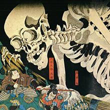 Estampe par Kuniyoshi Utagawa, squelette.